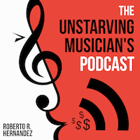 The Unstarving Musician's Podcast (logo), hosted by Roberto R Hernandez (aka Robonzo), The podcast for indie musicians.