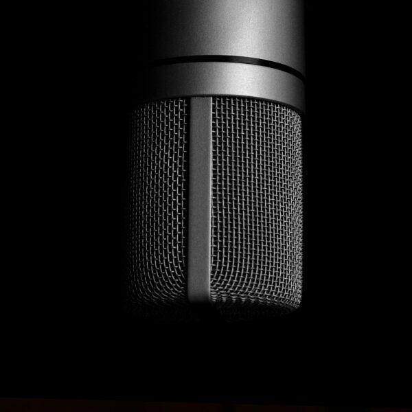 Microphone on dark background