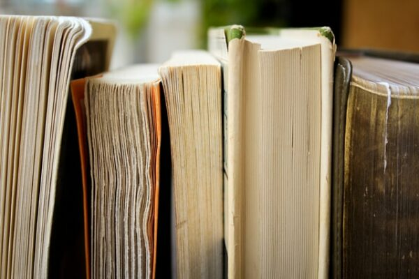 Worn out books standing upright